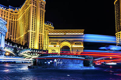 Photograph - Paris Las Vegas Nevada Hotel At Night by Alex Grichenko