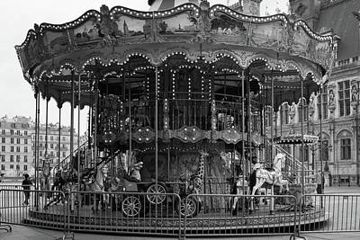 Photograph - Paris Merry Go Round In Mono by Georgia Fowler