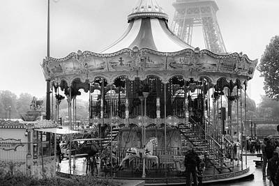 Photograph - Paris Monochrome Carousel by Georgia Fowler