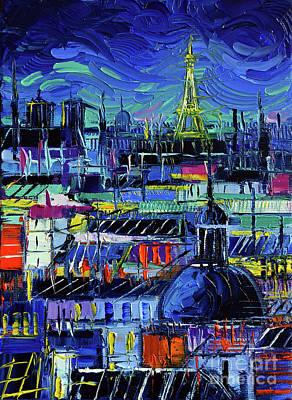 Paris Nights Modern Impressionist Stylized Nightscape Knife Oil Painting Art Print