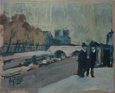 Painting - Paris Notre-dame 2 Figures by Nop Briex