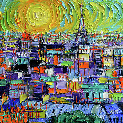 Paris Rooftops - View From Notre Dame Towers - Textural Impressionist Stylized Cityscape Art Print