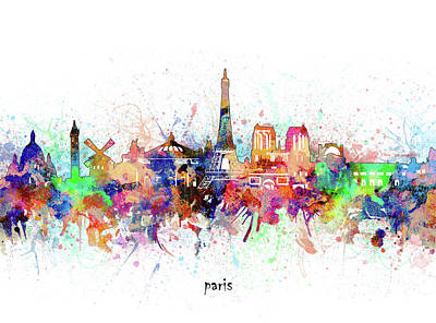 Paris Skyline Royalty-Free and Rights-Managed Images - Paris Skyline Artistic by Bekim M