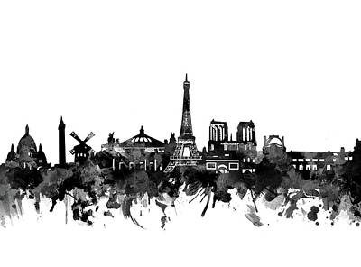 Paris Skyline Royalty-Free and Rights-Managed Images - Paris Skyline Bw by Bekim M