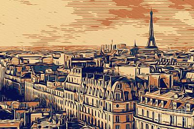 Paris Skyline Royalty-Free and Rights-Managed Images - Paris Skyline, France by Esoterica Art Agency