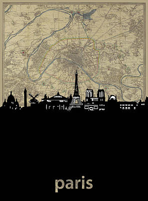 Paris Skyline Royalty-Free and Rights-Managed Images - Paris Skyline Map by Bekim M