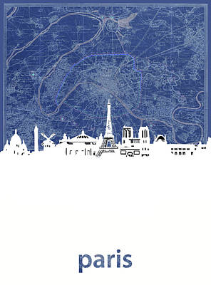 Paris Skyline Royalty-Free and Rights-Managed Images - Paris Skyline Map Blue by Bekim M