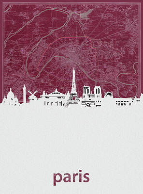Paris Skyline Royalty-Free and Rights-Managed Images - Paris Skyline Map Red by Bekim M