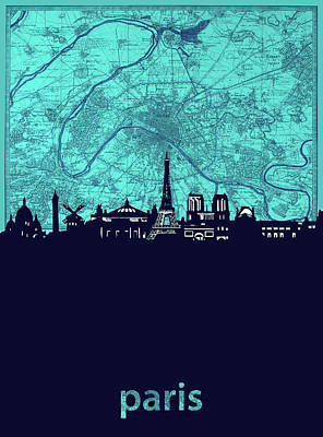 Paris Skyline Royalty-Free and Rights-Managed Images - Paris Skyline Map Turquoise by Bekim M