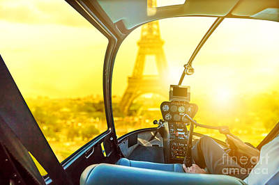 Photograph - Parisian Helicopter Flight by Benny Marty