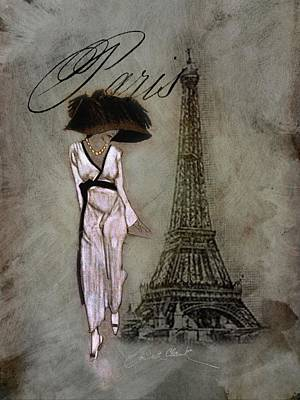 Digital Art - Parisian Lady in the Rain by Loribeth Clark