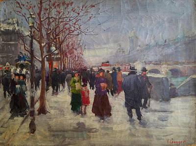 Parisian Winter Street Scene Original