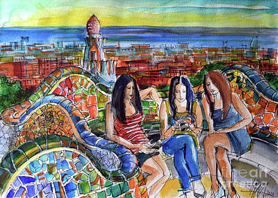 Antoni Gaudi Wall Art - Painting - Park Guell Barcelona Photo Session by Mona Edulesco