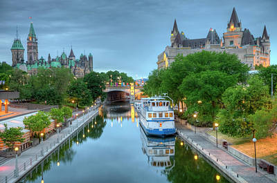 Parliament Hill  On The Rideau Canal Art Print