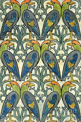 Painting - Parrot Pattern Design by Charles Francis Annesley Voysey