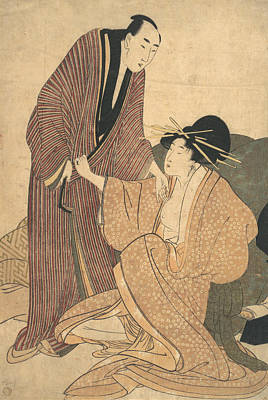 Relief - Parting Of Lovers - Courtesan And Her Lover by Kitagawa Utamaro