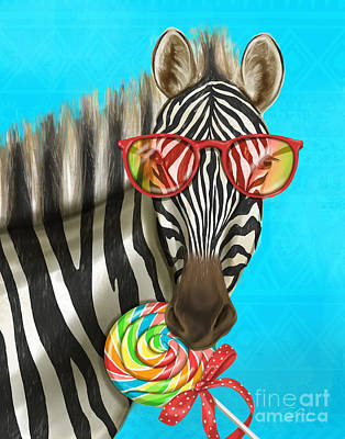 Mixed Media - Party Safari Zebra by Shari Warren