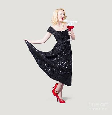 Martini Photos - Party woman in a black sequin dress by Jorgo Photography - Wall Art Gallery