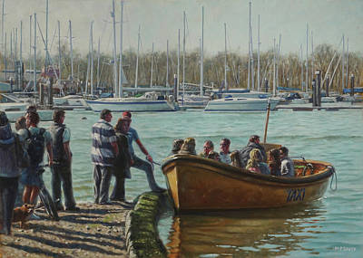 Painting - Passengers Boarding The Hamble Water Taxi In Hampshire by Martin Davey