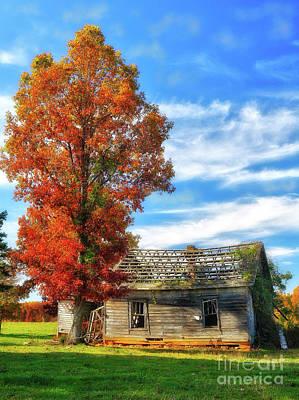 Digital Art - Past Its Prime Vintage Autumn Barn Ap by Dan Carmichael