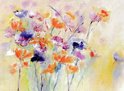 Digital Art - Pastel Acrylic Spring Floral by Lisa Kaiser