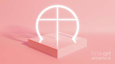 Royalty-Free and Rights-Managed Images - Pastel Geometry and Illuminated Crucifix by Allan Swart