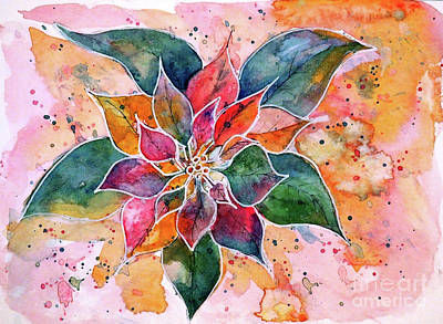 Western Art - Pastel Poinsettia by J Lopez