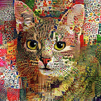 Digital Art - Patchwork Patty Cat - Square Version by Peggy Collins