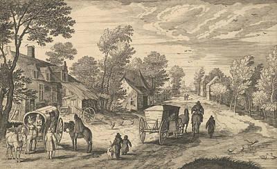 Relief - Path Through A Village by Aegidius Sadeler