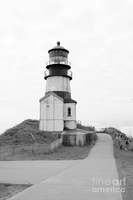 Photograph - Path To Cape Disappointment Lighthouse Bw by Carol Groenen