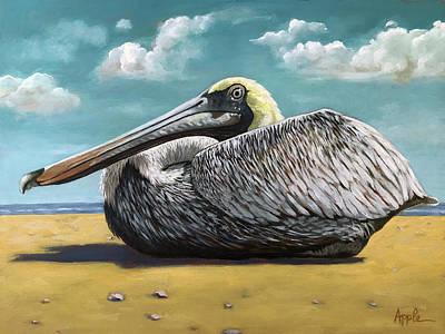 Painting - Patient Pelican by Linda Apple