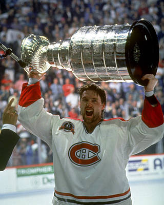 Stanley Cup Playoffs Photograph - Patrick Roy Raises The Cup, 1993 by B Bennett