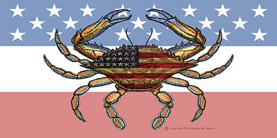 Photograph - Patriotic Blue Crab by Charles Harden