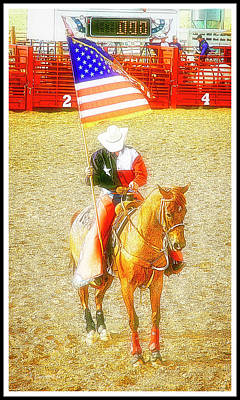 Digital Art - Patriotic Cowboy On His Horse by A Gurmankin