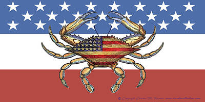 Photograph - Patriotic Crab On American Flag by Charles Harden