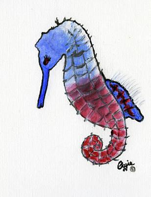 Painting - Patriotic Seahorse by Stephanie Agliano