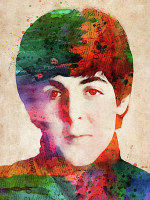 Music Royalty-Free and Rights-Managed Images - Paul McCartney watercolor portrait by Mihaela Pater