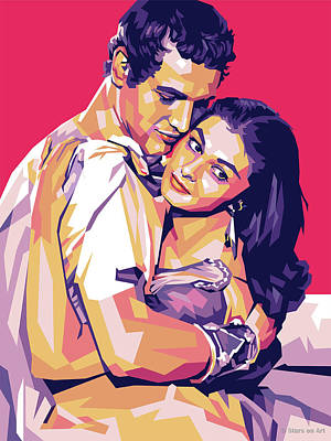 Curated Round Beach Towels - Paul Newman and Pier Angeli by Stars on Art