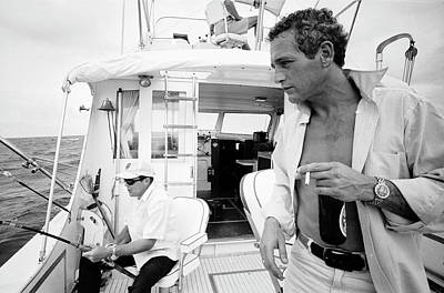 Us State Photograph - Paul Newman On A Fishing Boat by Mark Kauffman