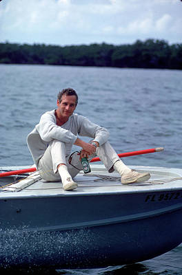 Photograph - Paul Newman On Boat by Mark Kauffman