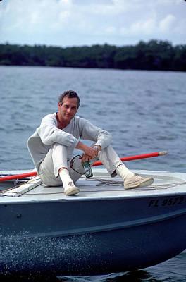 Paul Newman On Boat Art Print by Mark Kauffman