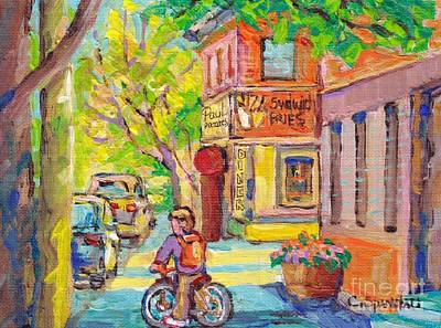 Painting - Paul Patate Diner Rue Coleraine And Charlevoix Pointe St Charles Montreal Paintings C Spandau Artist by Carole Spandau