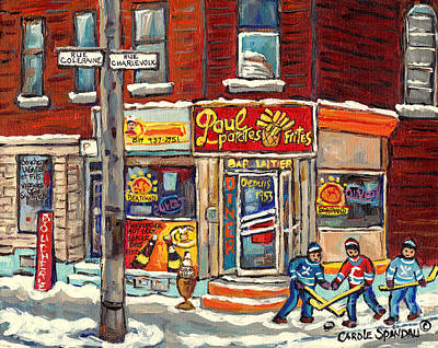 Painting - Paul Patate Pointe St Charles Coleraine And Charlevoix Canadian Winter Scene Hockey Art C Spandau   by Carole Spandau