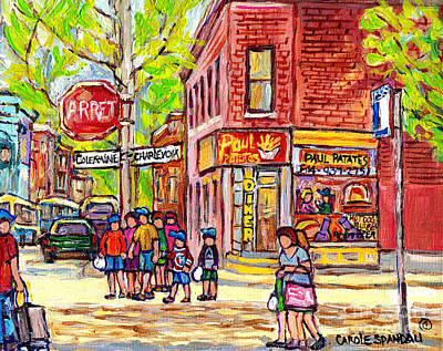 Painting - Paul Patate Pointe St Charles Paintings For Sale Montreal Diner Deli Bistro Restaurant Art C Spandau by Carole Spandau