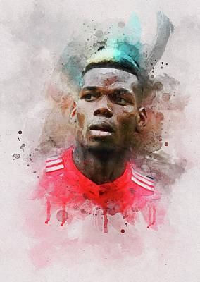 Football Mixed Media - Paul Pogba Watercolour by David Ridley