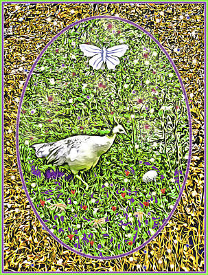 Digital Art - Pea Hen With Egg And Butterfly by Lise Winne