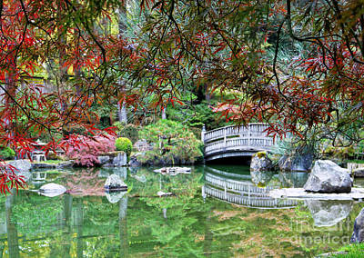 Photograph - Peaceful Autumn Bridge Reflection by Carol Groenen