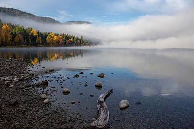Washington Driftwood Beach Fog Wall Art - Photograph - Peaceful Morning At The Lake 2 by Lynn Hopwood