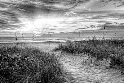 Photograph - Peaceful Morning On The Dunes In Black And White by Debra and Dave Vanderlaan