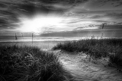 Photograph - Peaceful Morning On The Dunes In Radiant Black And White by Debra and Dave Vanderlaan
